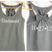 Bridesmaid Tank with Bow and Wedding Date by personTen on Etsy