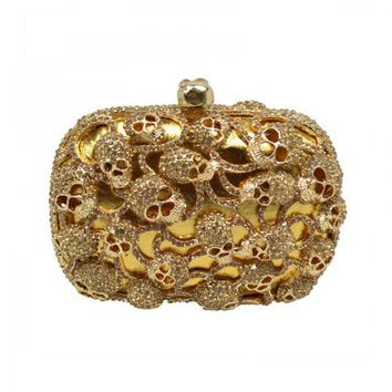 Golden Tone Skull Heads Embellishment Clutch from Hallomall