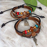 Handmade Couple Leather Bracelets- Key and Bag  accessoryinlove