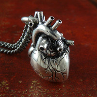 "Anatomical Heart Jewelry Antique Silver Anatomical Heart on 18"" Gunmetal Chain"