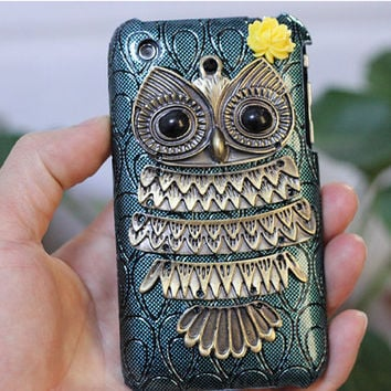 Personalized Antique Brass Cute Owl And Hard Case by moonboat
