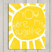 You Are My Sunshine Art Print  8x10 by DeliveredByDanielle on Etsy