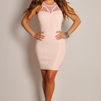 Sexy Flirtatious Peach Pink Beaded Cut-Out Dress