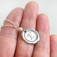 Wax Seal Pendant with White Pearl, Initial Personalized Necklace, Monogrammed Alphabet Jewelry, Stamped Necklace, Bridesmaid Gift Sterling