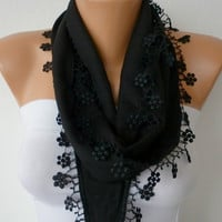 Black Scarf   Pashmina  Headband Cowl with Lace Edge   by fatwoman-456