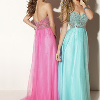 Free shipping: A-line Tulle Sweetheart Rhinestones Floor Length Graduation Dress-sinospecial.com