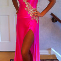 MAC DUGGAL OMBRA NEON PINK SILK CHARMEUSE SZ 2-4 PAGEANT GOWN ONE SHOULDER PROM
