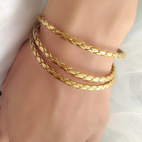 3 Circles Gold braided Leather Wrap Bracelet