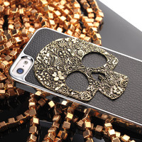 Vintage 3D Skull on Litchi Grain Stick Handmade Hard Case For Iphone 5