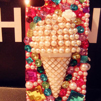 Rhinestone Ice Cream With Pearl Handmade Case For Iphone 4/4s/5