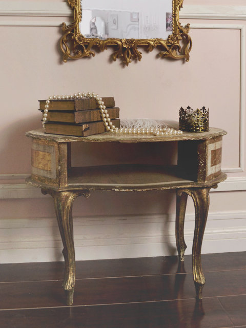Vintage Gold Florentine Gold Gilt Open Side Table - The Bella Cottage