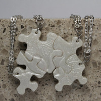 Puzzle Piece Necklace Set of 4 Bridesmaid or Best Friend Pendants Polymer  Leaf Pattern Set 145