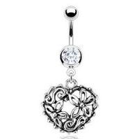 Amazon.com: 14g Dangling Vintage Inspired Heart Garden Sexy Belly Button Jewelry Navel Ring Dangle Body Jewelry Piercing with Surgical Steel Bar 14 Gauge 3/8&quot; Nemesis Body JewelryTM: Everything Else
