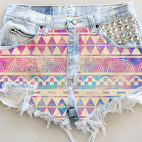 ANY COLOR Aztec Galaxy Print Ripped Frayed Denim High-Waisted Shorts (UV8)