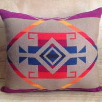 Wool Throw Pillow, 15x18 - Native American Geometric Design
