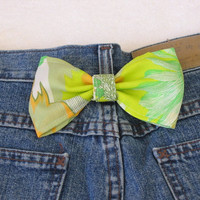 Belt Loop / Hair Bow - Retro Green & Orange Fabric