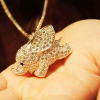 Fashion Cute Elephant Animal Pendant Necklace