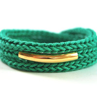 Emerald green wrap bracelet with gold bar. Stacking bracelet