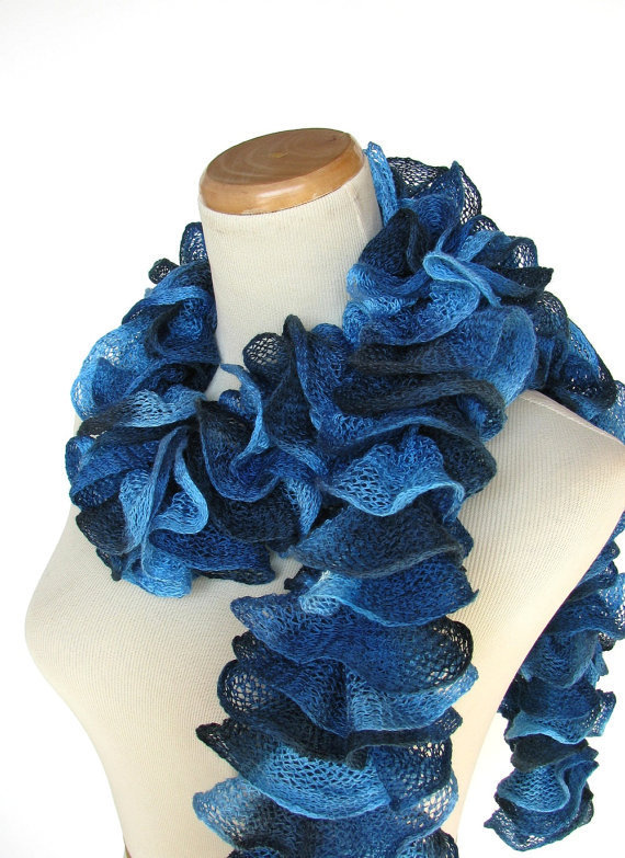 Blue Hand Knit Ruffled Scarf by ArlenesBoutique on Etsy