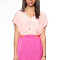 Around the Color Block Dress in Pink :: tobi