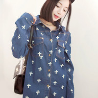 Cross Pattern Dark Blue Denim Shirt$49