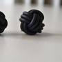 Chinese knot earrings,black neoprene earrings,minimalist industrial jewelry,contemporary jewellery