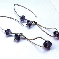 dark purple crystal loop earrings,mothers day gift