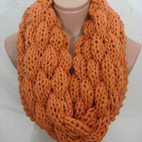 Knitted Double Pattern Hooded Cowl/Scarf/Neck Warmer (Dark Orange) by Arzu's Style