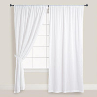 White Cotton Voile Curtains, Set of 2