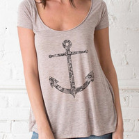Lace Anchor Nautical Flowy Drape Top