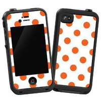 "Tangerine Polka Dot on White ""Protective Decal Skin"" for LifeProof 4/4S Case"