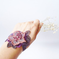 Purple Lace Bracelet, Women accessories,  3D Flower, Bridal, Bridesmaids Accessories