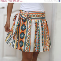 ON SALE Colorful Tribal Orange Mini Skirt - Ready to ship