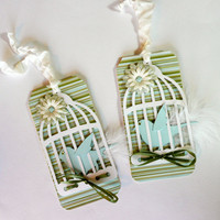 Bird in a Cage Gift Tags/ Set of 2/ Tweeting by valburgesscollage