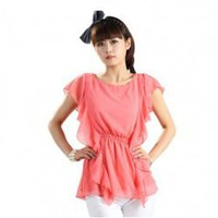 Wholesale Arrival Sweet Round Neck Flouncing Chiffon Blouse Watermelon Red