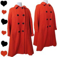 Vintage 50s 60s ORANGE Womens Winter Swing Coat L XL Mod Mad Men Black Buttons