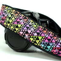 dSLR Camera Strap, Pocket, Bright Tribal, Triangles, Geometric, SLR