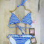 ♥jUICY COUTURE New $173 Lurex Stripe Gold Chain Link Bikini Swimsuit Small
