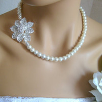 Bridal art deco crystal rhinestone pendant necklace white full strand glass pearls swarovski rondells wedding jewelry bridal jewelry