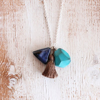 BLUE GEODE & TRIANGLE / talisman necklace by SOFTGOLDSTUDIO