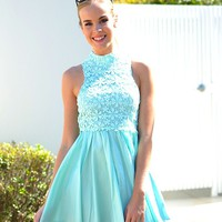 Mint Sleeveless Dress with Floral Lace High Neckline
