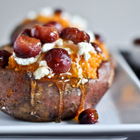 Roasted Grape, Goat Cheese + Honey Stuffed Sweet Potatoes | How Sweet It Is