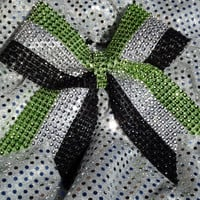 1 Green Silver Black Rhinestone Bling Cheer Cheerleading Dance Ribbon Bow