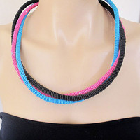 New 2013 Collection, Pink Blue Black Bip Necklace, Nautical Knot Rope Necklace, Spring Trend