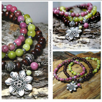 Flower Charm Find Me Boho Stretch Stack Bracelets                       - Rhodonite, Olive New Jade and Dyed Wood