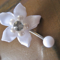 Belly Button Jewelry- White Ribbon Flower Pearl Navel Ring Piercing Rose Bud Rosebud Stud Bar Barbell