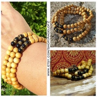 Onyx Gemstone and Mustard Dyed Wood Bracelet Stretch Stack