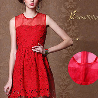 Sweat elegant red organza princess gown dress from Girlfirend