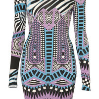 Aztec Bright Bodycon Dress - Dresses  - Clothing