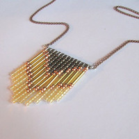 70&#x27;s Inspired Gold Chevron Necklace